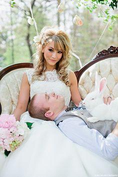 Romantic Alice In Wonderland Wedding  #pink #bunny #bride #groom #lace