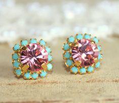 Crystal stud pink earring - 14k plated gold post earrings real swarovski rhinestones .