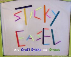 Sticky Easel: Coloured Craft Sticks and Straws