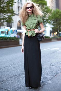 blous, maxis, outfit, frida gustavsson, street styles, belt, big hair, shirt, maxi skirts