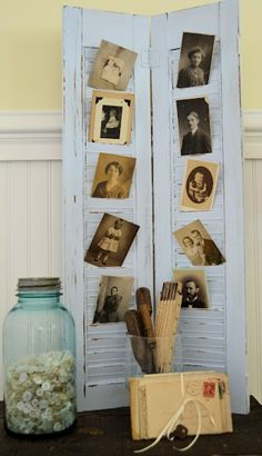 DIY Painted Louvers - I would spray paint them and use modern pics of family  friends. Cute idea for a dorm room :)