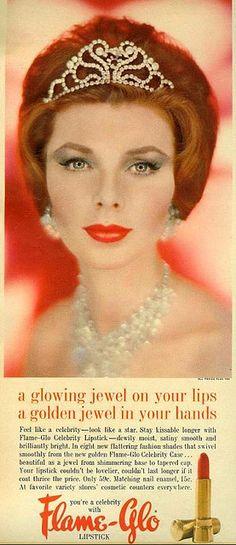 Radiant, ravishing, regal! #sixties, 1960s, #vintage, #cosmetics, #make-up, #fashion, #red