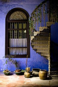 wall colors, spirals, stairs, stairway, blue walls, windows, wrought iron, spiral staircases, blues