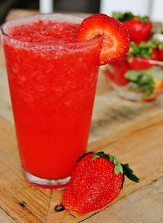 Ingredients:  2 cups frozen strawberries  1 cup water flavored with Crystal Light Strawberry Lemonade     Directions:  Blend together until smooth.  Drink.