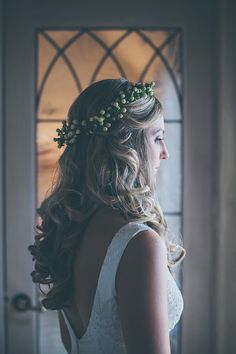 berry wreath, photo by Kris Holland http://ruffledblog.com/sacramento-barn-wedding #beauty #floralcrown #hair