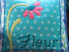 Decorative Throw Pillow in Turquoise applique by twistedsticks, $55.00