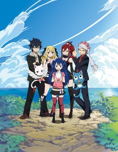 anime: fairy tail, gray fullbuster, charla, lucy heartfilia, erza scarlet, wendy marvell, happy, natsu dragneel