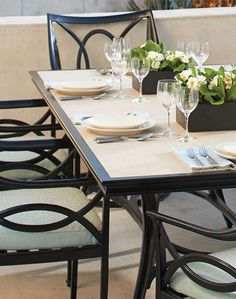 Dine in elegant contemporary style at the Moreaux Dining Collection; a casual and remarkable collection that creates a welcoming environment in your outdoor space.
