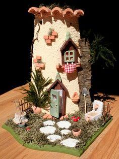 fairi hous, fairi garden, hous tower, fairy houses, stucco fairi, mountain houses