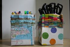 ReCycle Craft: Milk Carton Weaving! from Pink and Green Mama
