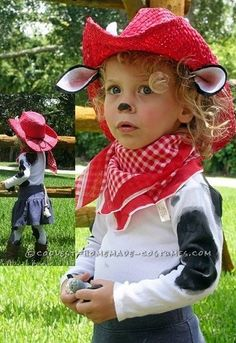 Cutest Cow Child Cowgirl Costume... an easy, adorable  homemade costume idea for youngins.
