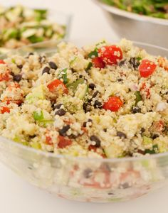 3c quinoa  Salt  1can black beans  2c diced cucumber  1sm red onion, fine mince  2c fine diced tomatoes  1/2c chopped cilantro  4tb lime juice  2tb red wine vinegar  6tb olive oil  avocado, sliced    Cover quinoa in bowl w/ cold water, sit 5m. Strain  until water clear.   Quinoa w/salt in med saucepan. Cover  15m until tender  Drain  black beans as quinoa cools.    Combine veg's, vinegar, lime juice, olive oil in bowl. Add quinoa & toss together. Garnish w/avocado.