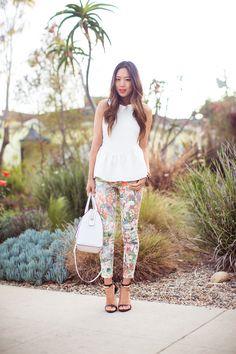 Floral print pants & peplum top