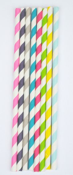 25 Striped Colored Paper Party Straws Party Decorations. $4.00, via Etsy.