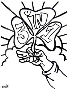 """Coloring page for St. Patrick's Day. Clover says """"3 in 1"""" to tie in with the Trinity."""