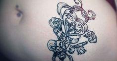 Nice Tattoo of True Love Padlock and key on stomach.