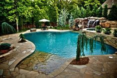 Natural boulder waterfalls, beach entry, glass tile inlaid spa, flagstone patio, landscaping. We love this!