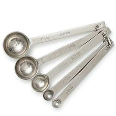 Odd Size Measuring Spoons: Made of silky, smooth stainless steel with a substantial heft, sizes include pinch, and ⅛, ⅔, 1½, and 2 teaspoons. via kingarthurflour.com #Measuring_Spoons #kingarthurflour