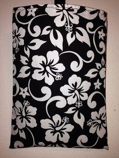 Auto Car Trash Bag or Organizer Black and White Hawaiian Hibiscus   on Etsy, $10.00