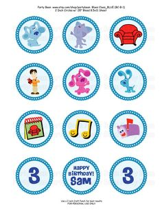 Blues Clues Birthday Cupcake Toppers  Stickers Tags by partybean