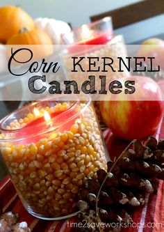 Harvest candle holders - all you need is popcorn kernels and an empty jar!