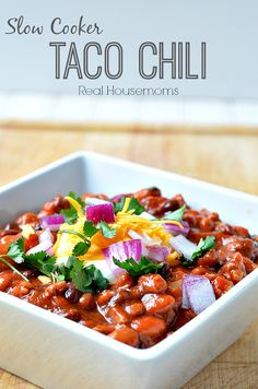Slow Cooker Taco Chili is a great dish to make for a crowd or freeze the extras for a quick meal on a busy night!