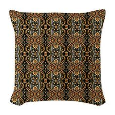 Black and Gold Paisley Throw Pillow by Graphic Allusions. An elegant paisley pattern of black and gold reminiscent of vintage wallpaper or a vintage textile design. #cushion #pillow
