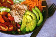 Salad Recipe: Nourishing Veggie Salad w/ Hummus #vegan #recipes #glutenfree #salad