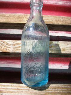 Civil War era Teal Glass Bottle  Mineral Water