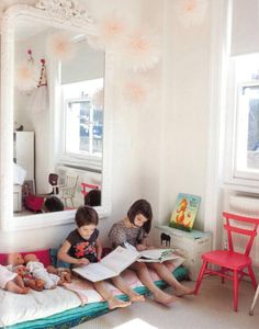 mirrors, reading corners, pom poms, bedroom walls, reading spot, playroom, kid rooms, reading nooks, girl rooms