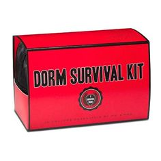 Dorm Survival Kit, $25.00 by @msandmrs. Contains 12 must-haves: Book Light, Caffeine Gum, Eye Mask, Earplugs, First Aid Kit, Thermometer, Laundry Bag, Laundry Instructions, Mending Kit, Air Freshener, Screwdriver, and Poster Adhesive