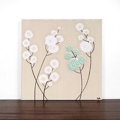 Small Flower Painting  Textured Art on Canvas  12X12 by Amborela, $42.00 I could do this.