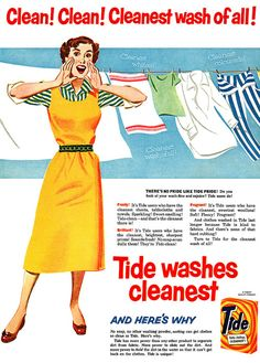 Clean! Clean! Cleanest of all! #vintage #1950s #laundry #ads #homemaker #advertising #brand