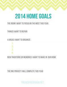 Home Goals Printable 2014 Worksheet