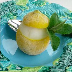 Sorbet in a hollowed out lemon.