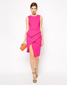 Image 4 ofASOS Premium Peplum Asymmetric Dress