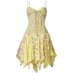 Pale yellow mid summer days dress found on Polyvore
