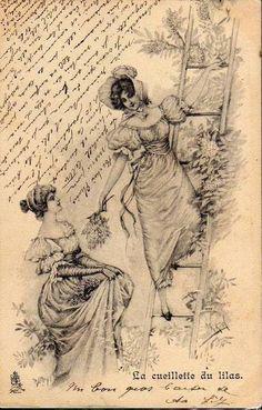 French postcard ~ 2 ladies picking lilac