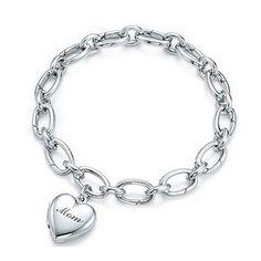 $7.99 - Silver Plated Heart Locket Bracelet for Mom