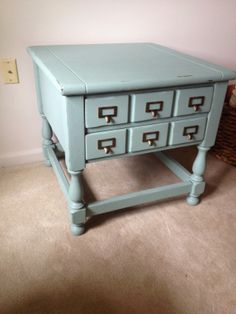 """Card Catalog inspired table"" from ""One Peace at A Time"" -- Click-through shows how she transformed a battered piece into this beauty, which incidentally, only has two drawers, not six."