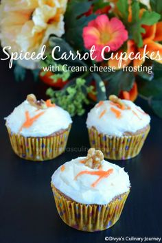 Spiced Carrot Cupcakes with cream cheese frosting