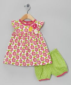 Pink Floral Organic Dress & Bloomers -