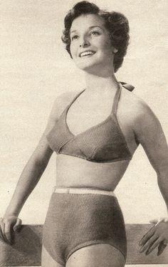 pattern 2073, 50s bikini, vintage knitting, cut knit, bathing, knitting patterns, knit bath, vintag knit, knit pattern