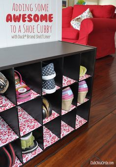 Shoe cubby lined with decorative flair from #DuckShelfLiner #ad  www.clubchicacircle.com
