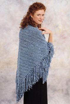 Crochet Triangle Shawl free pattern using Homespun yarn