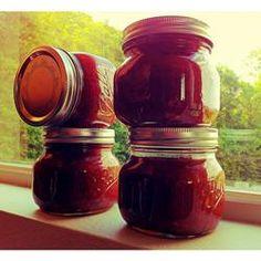 Easy Apple Rhubarb Jam - did 4.5 cups ruhbarb and 2 cups apples/4tblsp pectin/made 6 half pint jars