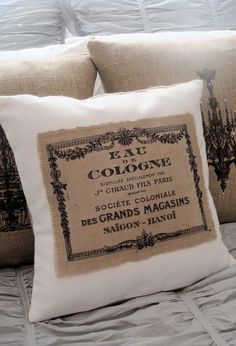 burlap and canvas pillows