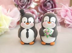 Penguin wedding cake toppers - white, pink by PassionArte, via Flickr  I'm so in love with these cake toppers...somebody tell me how we get them to go with a fall-themed cake/wedding :(