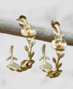 Roses & Vine Golden Hoop Earrings Wedding Bride
