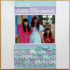 Technique Tuesday Little Mermaid Layout by Mendi Yoshikawa - Scrapbook.com - Die cut white on white polka dots and scallops for a background. Then die cut and stitch mini banners and place them all together to mimic mermaid scales.